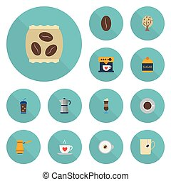 Flat Icons Sweetener, Package Latte, Arabica Bean And Other Vector Elements. Set Of Drink Flat Icons Symbols Also Includes Saucer, Tree, Mocha Objects.