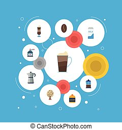Flat Icons Sweetener, Timber, Coffee Mill And Other Vector Elements. Set Of Coffee Flat Icons Symbols Also Includes Press, French, Mocha Objects.