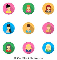 flat icons templates women