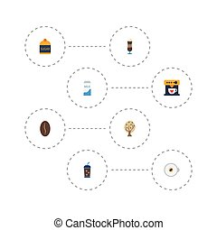 Flat Icons Timber, Mocha, Arabica Bean And Other Vector Elements. Set Of Drink Flat Icons Symbols Also Includes Dairy, Pot, Pocket Objects.