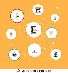 Flat Icons Timber, Paper Box, Saucer And Other Vector Elements. Set Of Coffee Flat Icons Symbols Also Includes Tree, Timber, Capsule Objects.