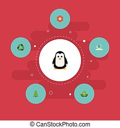 Flat Icons Tree, Emperor, Conservation And Other Vector Elements. Set Of Eco Flat Icons Symbols Also Includes Power, Recycle, Blossom Objects.