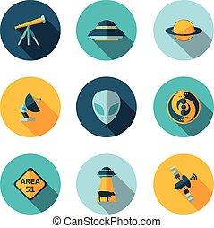 flat icons UFO