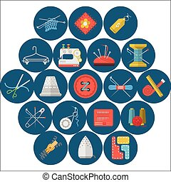 Flat icons vector collection of sewing items