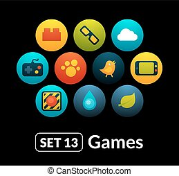 Flat icons vector set 13 - game collection
