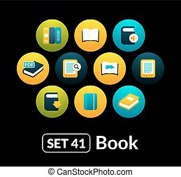 Flat icons vector set 41 - book collection