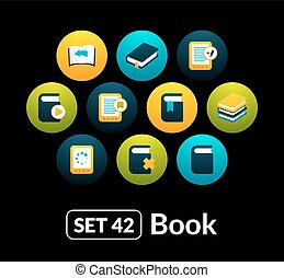 Flat icons vector set 42 - book collection