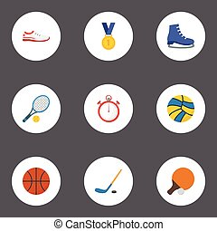 Flat Icons Volleyball, Reward, Shoes And Other Vector Elements. Set Of Fitness Flat Icons Symbols Also Includes Stick, Sport, Hockey Objects.
