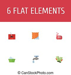 Flat Icons Washcloth, Faucet, Laundry And Other Vector...