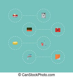 Flat Icons Washcloth, Mopping, Wisp And Other Vector Elements. Set Of Hygiene Flat Icons Symbols Also Includes Hand, Besom, Basin Objects.