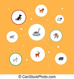 Flat Icons Waterbird, Kine, Jackass And Other Vector Elements. Set Of Animal Flat Icons Symbols Also Includes Mutton, Deer, Chimpanzee Objects.