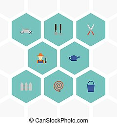 Flat Icons Watering Can, Lawn Mower, Garden Hose And Other Vector Elements. Set Of Agriculture Flat Icons Symbols Also Includes Fruiter, Grass, Watering Objects.