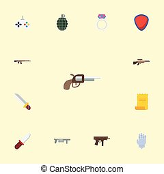 Flat Icons Weapon, Dynamite, Game And Other Vector Elements. Set Of Gaming Flat Icons Symbols Also Includes Blade, Pistol, Keypad Objects.