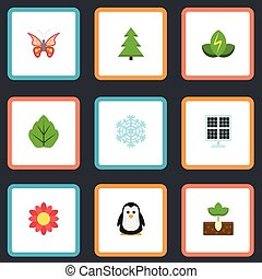 Flat Icons Winter Snow, Sprout, Emperor And Other Vector Elements. Set Of Eco Flat Icons Symbols Also Includes Energy, Snow, Sprout Objects.