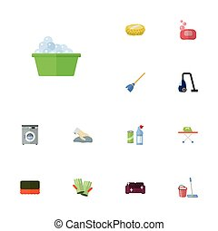 Flat Icons Wisp, Besom, Towel And Other Vector Elements. Set Of Hygiene Flat Icons Symbols Also Includes Sweeper, Foam, Cleaner Objects.