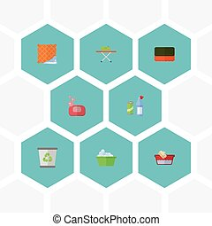 Flat Icons Wisp, Laundry, Clothes Washing And Other Vector Elements. Set Of Hygiene Flat Icons Symbols Also Includes Foam, Washcloth, Ironing Objects.