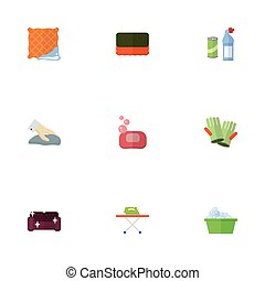 Flat Icons Wisp, Laundry, Gauntlet And Other Vector Elements. Set Of Hygiene Flat Icons Symbols Also Includes Gloves, Sofa, Wiping Objects.