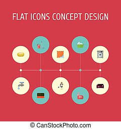 Flat Icons Wisp, Mopping, Sponge And Other Vector Elements. Set Of Cleaning Flat Icons Symbols Also Includes Wisp, Faucet, Cleaning Objects.