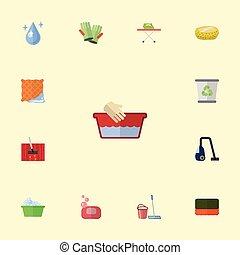 Flat Icons Wisp, Washcloth, Aqua And Other Vector Elements. Set Of Hygiene Flat Icons Symbols Also Includes Hygiene, Aqua, Bucket Objects.