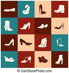 flat icons with different kinds of shoes