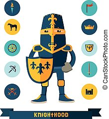 flat icons with knight