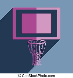 Flat icons with shadow of basketball net