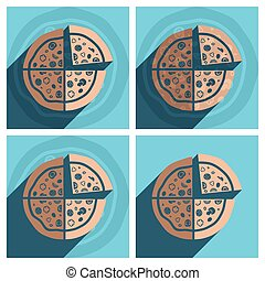 Flat icons with shadow of pizza