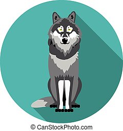 flat  icons wolf