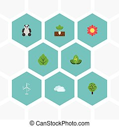 Flat Icons Wood, Eco Energy, Sky And Other Vector Elements. Set Of Green Flat Icons Symbols Also Includes Bear, Gardening, Animal Objects.