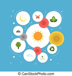 Flat Icons Wood, Landscape, Night Vector Elements. Set Of Green Flat Icons Symbols Also Includes Palm, Mountains, Monarch Objects.