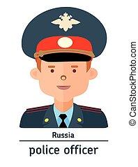 Flat illustration. Avatar Russia police officer - Avatar...