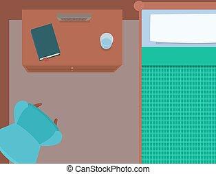 Flat illustration bedrooms