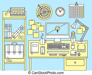 Flat illustration concept of office workspace.