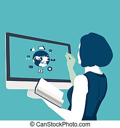 flat illustration distance learning