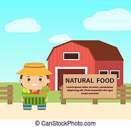 flat illustration farm, farmer with basket of natural products.