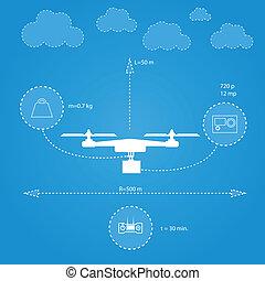 Flat illustration for technical characteristics of...