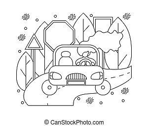 Flat illustration in lines with girl in a car. Automotive concept.