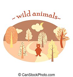 Flat illustration in the form of a oval with the wood and a bear. Wild animals.