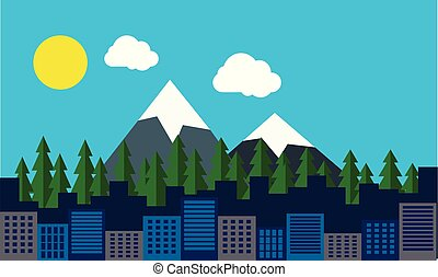 Flat illustration of a cityscape with buildings and the blue sky