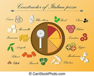 Flat illustration of a designer for Italian pizza on a wooden platter. Ingredients for vegetarian pizza, salami, salmon, chicken, cheese and mushrooms. Poster for creating your own individual menu, advertising, delivery, smartphone app, or website