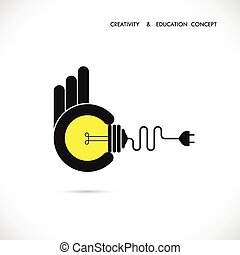 Flat illustration of a great ideas competition.Hand holding bulb.Human hand with idea light bulb.Concept design.