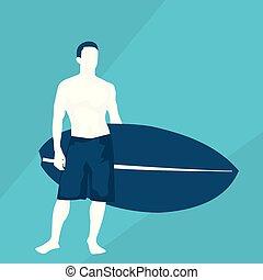 flat illustration of a surfer