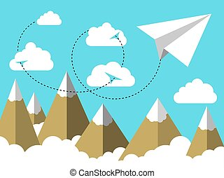 Flat illustration of Airplane or plane paper flying in the sky above clouds and over mountain landscape
