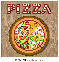 Flat illustration of assorted pizza on a wooden platter. Vector illustration of a round pizza divided into different pieces. Vegetarian pizza, salami, salmon, chicken, cheese and mushrooms.