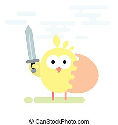 Flat illustration of chicken knight with sword and shield made from egg shell.