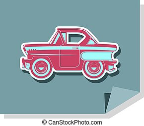 Flat illustration of classics cars - vector illustration of...