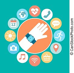 Flat illustration of hand with smart watch and technology functions