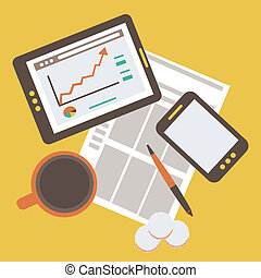 modern business and statistics - Flat illustration of modern...