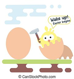 Flat illustration of newborn chicken. Easter card template.