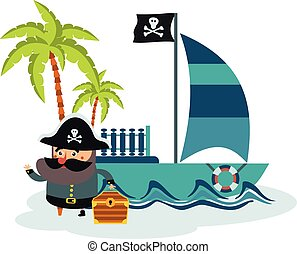 flat illustration of pirate and treasure island